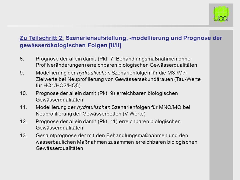 Zu Teilschritt 2: Szenarienaufstellung, -modellierung und Prognose der gewässerökologischen Folgen [II/II]
